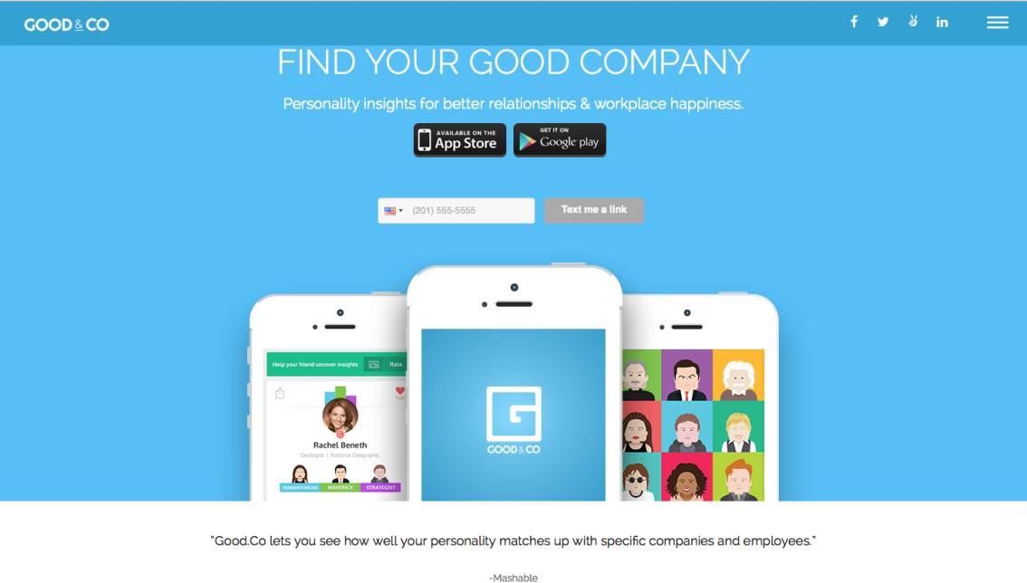 "GOOD.CO ""The eHarmony of Jobs"" -TIME"